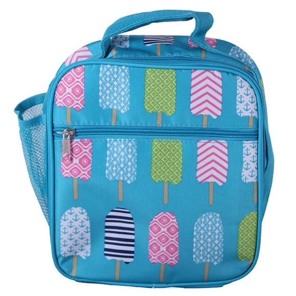 DBFL Mesh Side Pocket Popsicle Printed Lunch Bag (Pink/Blue)